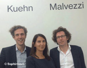 (de g. à dr.) Les architectes Johannes Kuehn, Simona Malvezzi et Wilfried Kuehn sont les lauréats du concours international 2012 pour House of One.