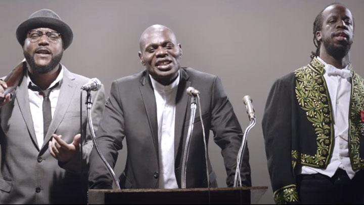 Lino en Malcolm X, Kery James en Martin Luther King et Youssoupha en Léopold Sédar Sengor.