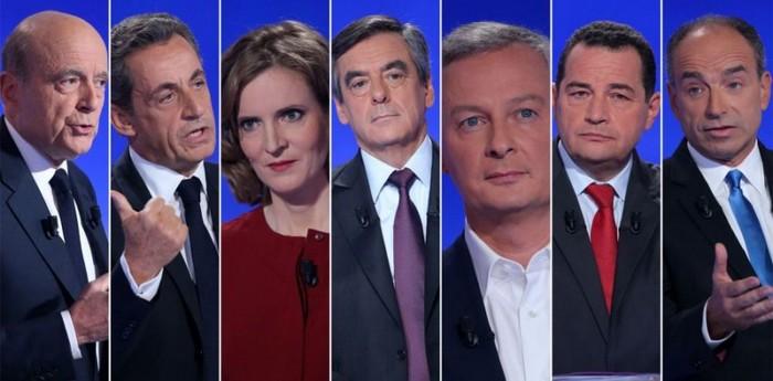 Les sept candidats de la primaire de la droite et du centre en vue de l'élection présidentielle 2017.
