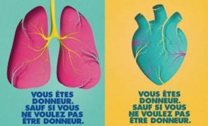 Affiches de l'Agence de biomédecine dans le cadre de la campagne nationale sur le don d'organes.