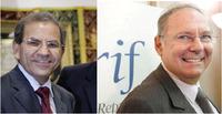 A gauche, Mohammed Moussaoui, président du CFCM, à droite Richard Prasquier,  président du CRIF.