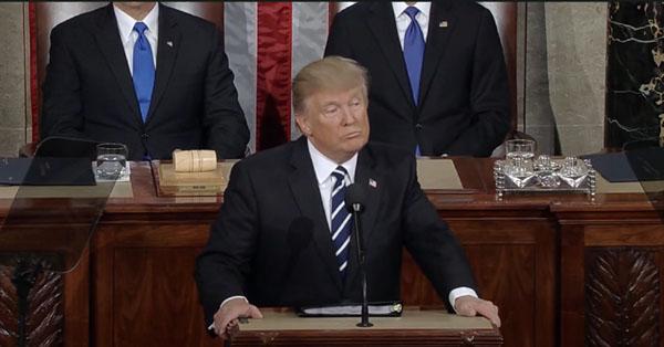 Donald Trump lors de son premier discours de politique générale au Congrès américain mardi 28 février