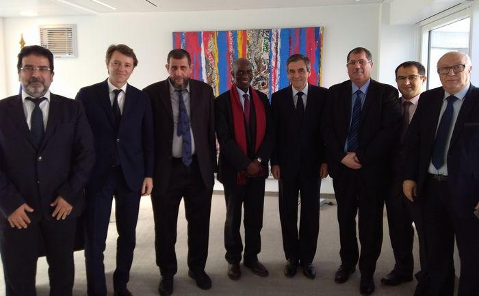 François Fillon et François Baroin à la rencontre de représentants du Conseil français du culte musulman (CFCM) mardi 11 avril. © DR