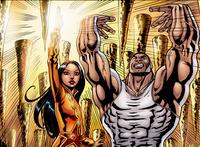 Deux des 99 héros, l'émiratie Noora, La Lumière, et  le saoudien Jabbar, Le Puissant.