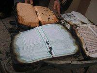 Dégâts constatés après l'incendie de la mosquée de Saint-Priest (Rhône), le 20 décembre 2008.