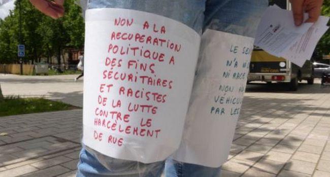 « Non à la récupération politique à des fins sécuritaires et racistes de la lutte contre le harcèlement de rue » © Stop HDR