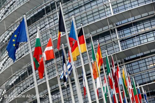 Devant le Parlement européen de Strasbourg, les drapeaux, qui semblent eux aussi en berne, préfigurent-ils l'abstention si redoutée du prochain scrutin 2009 ?