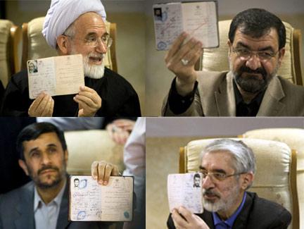 De gauche à droite, de haut en bas : Mehdi Karoubi, Mohsen Rezaï, Mahmoud Ahmadinejad et Mir-Hossein Moussavi.
