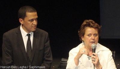Hassen Chalghoumi, imam de Drancy, et Christine Boutin, ministre du Logement, lors de l'annonce officielle, le 10 juin, du lancement de la Conférence des imams de France.