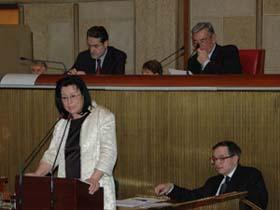 Séance plénière du Conseil économique et social, le 25 février 2009 : Fatiha Benatsou est rapporteur pour « Les entreprises dans les zones franches urbaines ». (Photo : © CES)