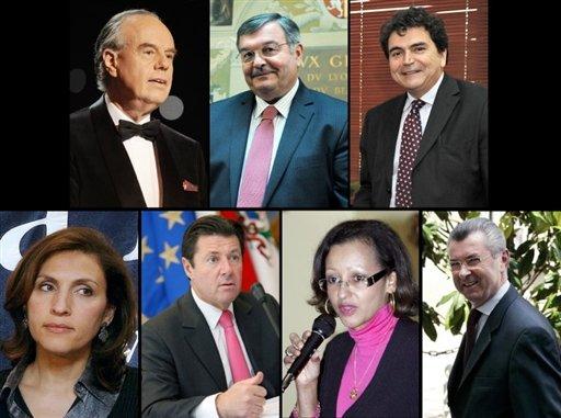 Les huit nouveaux membres du gouvernement Fillon 4. De gauche à droite et de bas en haut : Frédéric Mitterrand, Michel Mercier, Pierre Lellouche, Nora Berra, Christian Estrosi, Marie-Luce Penchard et Henri de Raincourt.