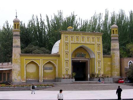 Mosquée Aid Kah, la plus grande mosquée de Kashgar, dans le Xinjiang, et peut-être la plus grande en Chine.