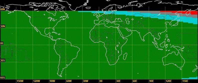 La carte de visibilité du croissant lunaire en date du dimanche 25 juin 2017 afin de déterminer le début du mois de Chawwal 1438/2017. © Omega Hilal Sighting / Fawzi Kayali