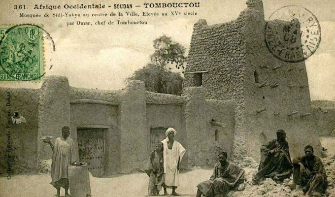 Mosquée de Sidi Yahya à Tombouctou (Mali) dans une image historique.