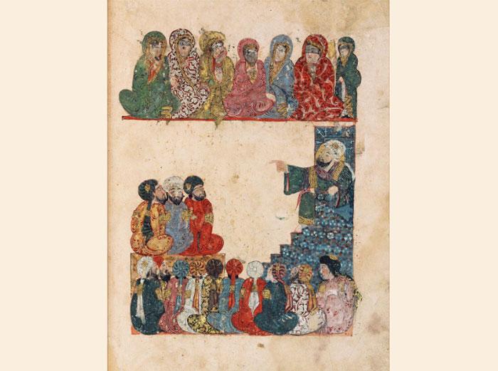 « Séance 21 : À la mosquée, un prédicateur délivre un sermon sur l'égalité de tous face à la mort », Muhammad al-Qâsim al-Harîrî, al-Maqâmât (Séances), miniature et calligraphie de Yahya ibn Mahmûd al-Wâsitî, Iraq, 1237. (© Bibliothèque nationale de France)
