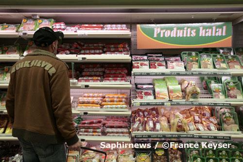 Rayon halal, au supermarché Casino de La Valentine, à Marseille, décembre 2007.