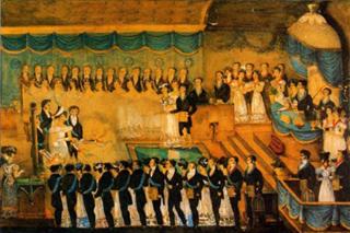 Réception d'une femme dans une loge d'adoption française sous le Premier Empire.