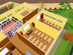 Vue intérieure du collège Alif (maquette).
