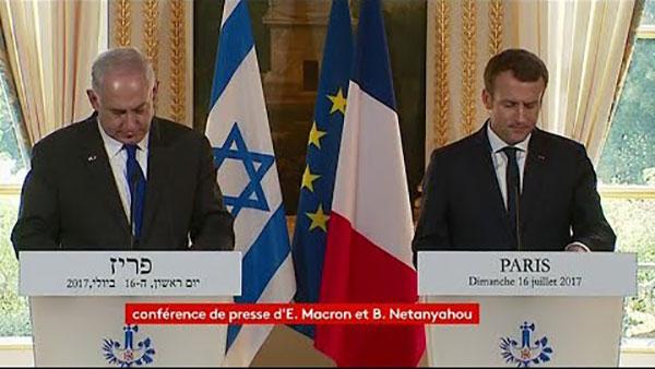 Le Premier ministre israélien Benjamin Netanyahou et le président français Emmanuel Macron à l'Elysée dimanche 16 juillet.