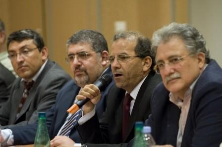 De gauche à droite : Haydar Demiryurek, secrétaire général du CCMTF (Turcs), Fouad Alaoui, vice-président de l'UOIF, Mohammed Moussaoui, président du CFCM, Chems-Eddine Hafiz de la Grande Mosquée de Paris, aux élections du CFCM le 22 juin 2008