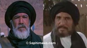 Anthony Quinn (version anglaise, à gauche) et Abdullah Gaith (version arabe).