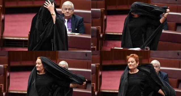 La sénatrice d'extrême droite est apparue en burqa au Sénat le 17 août pour réclamer son interdiction en Australie. © AAP /Lukas Coch