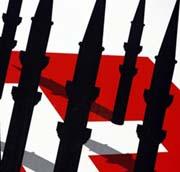 Partie de l'affiche anti-minarets que diffuse l'extrême droite suisse.