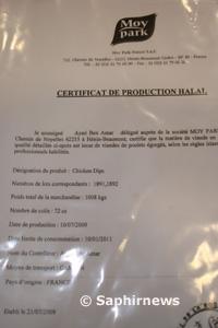 Certificat halal pour les produits Chickens Dips, délivré par la société Moy Park.