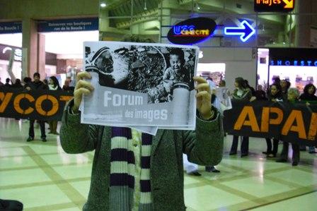Une première action de boycott du festival « Tel-Aviv, le paradoxe » s'est tenue le 3 novembre dernier au Forum des Images de Châtelet (Paris).