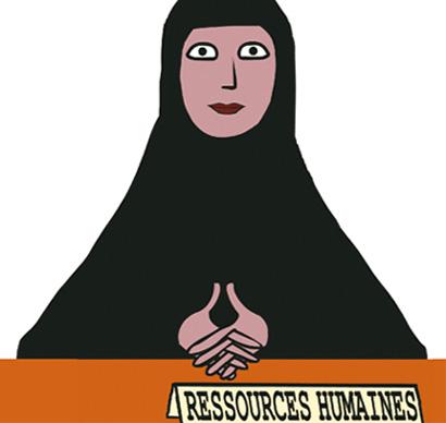 Dessin de couverture du dernier ouvrage de Dounia et Lylia Bouzar, qui ont mené une enquête sur le fait musulman en entreprises (dessin : El Diablo)