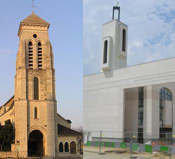 Créteil : Eglise Saint-Christophe et mosquée.
