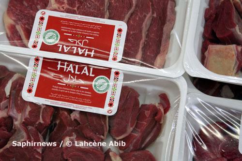 Rayon boucherie halal, durant le mois de Ramadan 2008, hypermarché Leclerc, à Vitry-sur-Seine (94).