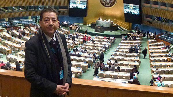L'ONU a adopté, vendredi 8 décembre 2017, la Journée mondiale du vivre-ensemble en paix. Le président d'honneur de l'ONG musulmane Khaled Bentounès, ici à l'ONU en 2015 pour présenter le projet.