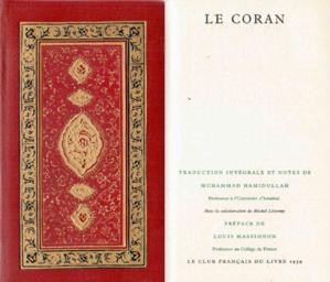 Couverture reliée et page de garde de la traduction du Coran de Muhammad Hamidullah, préfacée par Louis Massignon.