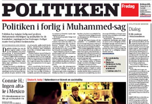 Une du journal « Politiken », qui, dans son édition du 26 février, regrette que « la réimpression des caricatures du Prophète ait pu offenser les musulmans ».