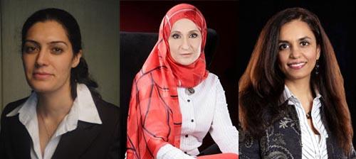 De g. à dr. : Andeisha Farid (Afghanistan), Afnan Al Zayani (Bahrein) et Roshaneh Zafar (Pakistan).