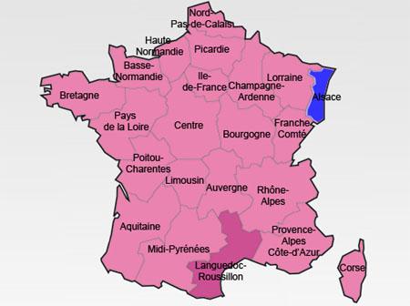 Second tour des régionales 2010 : défaite confirmée de la droite, avec seulement deux Régions (l'Alsace et La Réunion), et percée notable de l'extrême droite.