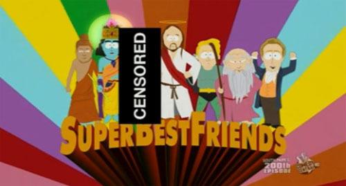 Copie d'écran du 200e épisode de South Park, où le Prophète déambule dans un costume d'ours afin qu'il ne puisse être vu. Il est « remercié » par les autres personnages d'avoir fait l'effort de venir à South Park...