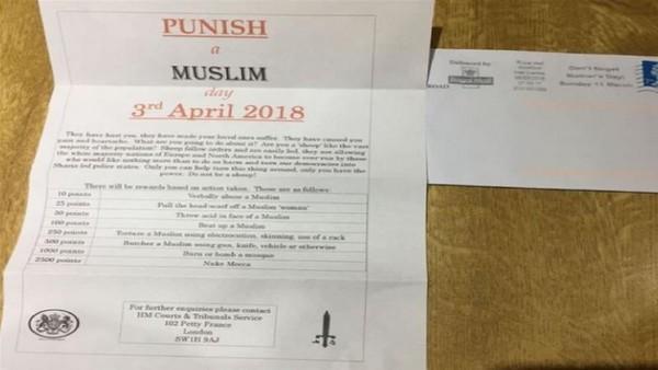 Des lettres de menaces incitant à attaquer les musulmans à travers l'Angleterre