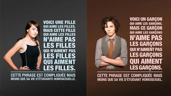 Une des affiches de la première campagne d'affichage visant à lutter contre l'homophobie dans les établissements d'enseignement supérieur.