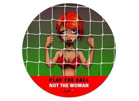 Affiche d'une campagne de communication, à l'initiative de la fondation Samilia (Belgique), contre la traite des êtres humains à des fins d'exploitation sexuelle dans le cadre des événements sportifs internationaux.