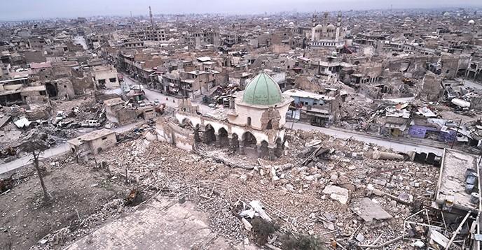 Ce qu'il reste de la mosquée historique Al-Nouri à Mossoul (Irak), détruite par Daesh en juin 2017. © UNESCO/ICONEM