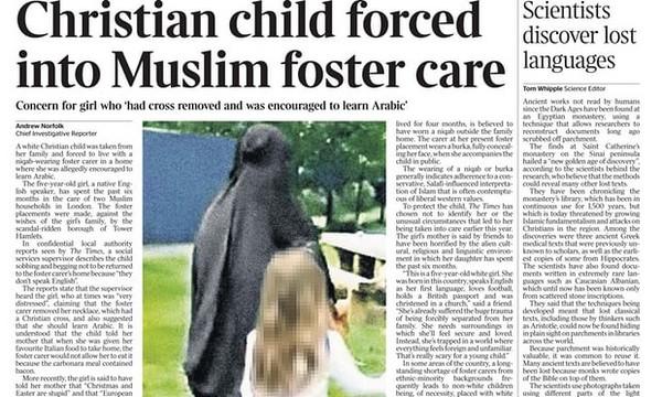 The Times sommé de s'excuser pour des articles trompeurs visant des familles d'accueil musulmanes
