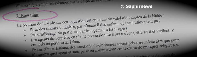 Extrait du compte rendu du 7 mai 2010 de la Commission Jeunesse et sports de la mairie de Roubaix : elle propose d'interdire l'accès aux loisirs aux usagers jeûneurs.