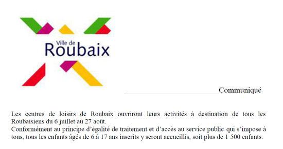 La Mairie de Roubaix (Nord) affirme que ses centres de loisirs accueilleront tous les jeunes, sous-entendu y compris ceux de confession musulmane qui pratiqueront le jeûne du Ramadan en août prochain. (Photo : extrait du communiqué du 1er juillet 2010)