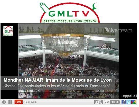 Capture d'écran du Direct de la prière du vendredi sur le site de la Grande Mosquée de Lyon.