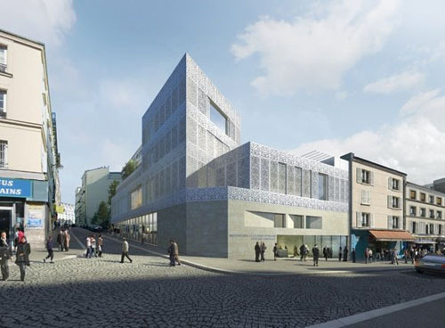 Le bâtiment de l'Institut des cultures d'islam en 2012, rue Polonceau, à Paris 18e. (Photo : www.atelierslion.com)