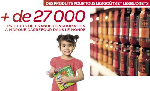 Photo extraite du rapport annuel de Carrefour, qui revendique plus de 27 000 produits sous MDD Carrefour. L'entreprise enregistre un chiffre d'affaires de 25,6 milliards d'euros au 3e trimestre 2010.
