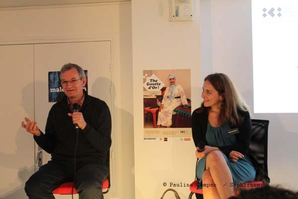 Le photographe Martin Parr et la directrice de l'Institut des Cultures d'islam, Véronique Rieffel