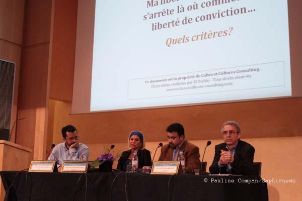 De gauche à droite : Nasser Suleiman-Gabryel, Dounia Bouzar, Galeb Benchik, Jean Baubérot.